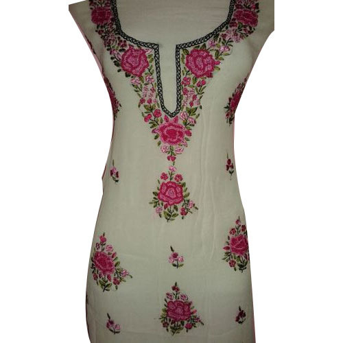 Unstitched Ladies Kurti Hand Embroidery Viscose French Knot