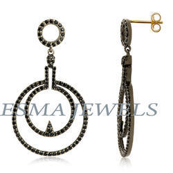 Long Round Pave Earring