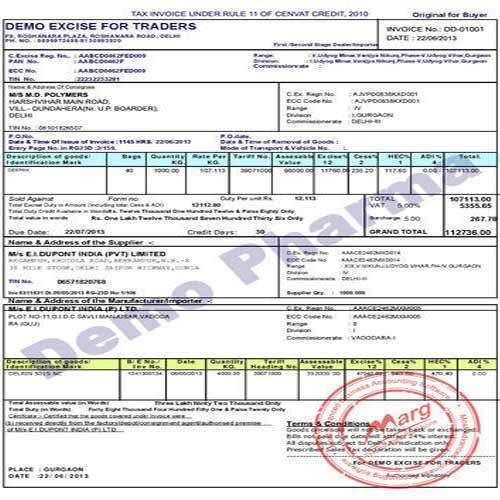 Excise Invoice and Excise Gate Pass Printing Service in