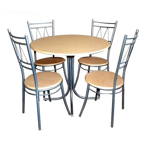 4 Chairs Round SS Dining Table Set