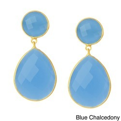Blue Chalcedony Bezel Set Stone Earrings