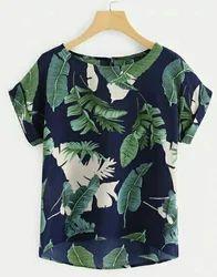 Rayon Half Sleeves Printed Tops