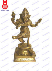 Lord Ganesh Dancing Trunk Up Statue