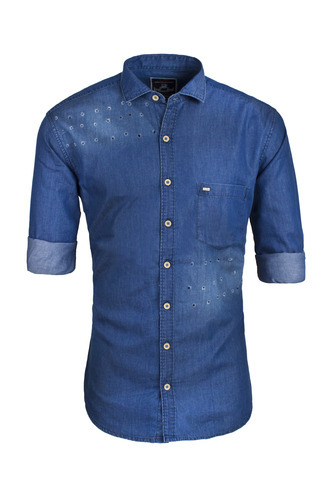 XL Plain Denim Shirt for Men
