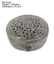 Oval White Metal Box
