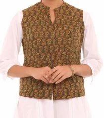Green Cotton Straight Jacket