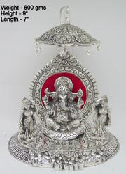 White Metal Riddhi Siddhi Ganesha