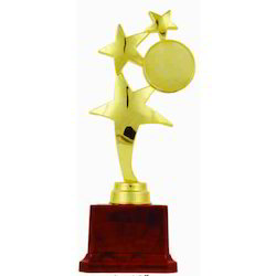 Brown And Golden (Gold Plated) Wooden Trophy