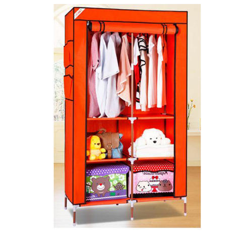 e544a2f051d Mild Steel Orange Evana 90cm Collapsible Folding Almirah Foldable Wardrobe  ORN