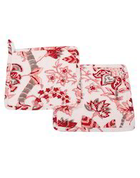 Cotton Red and Pink Machine Quilted Floral Printed Kitchen Towel Napkin Sets