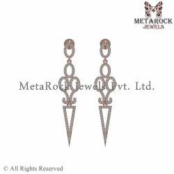 Handmade 14K Rose Gold Diamond Dangle Earring Jewelry