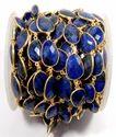 Dyed Blue Sapphire Gemstone Bezel Set Connector Chain