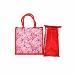 Jute Flower Print Bag