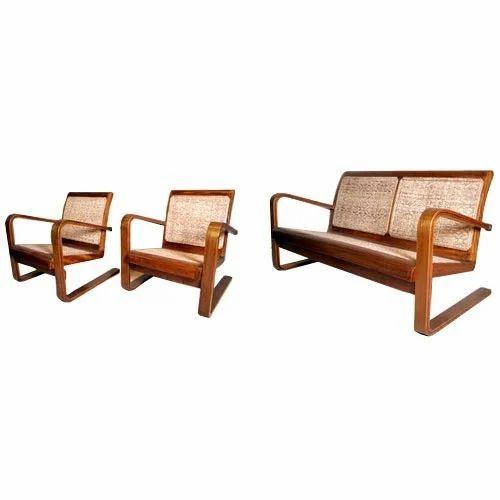 Brown Art Deco Sofa Set