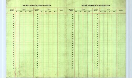 Stock Verification Register Standard Library Service