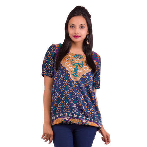 Blue Rayon Women' s Printed Top