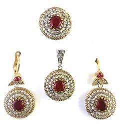 Turkish Silver Ruby Pendant Set