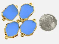 Blue Chalcedony Electropformed Gemstone Slice Connector
