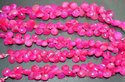 Hot Pink C Halcedony Heart Shape Faceted Briolettes