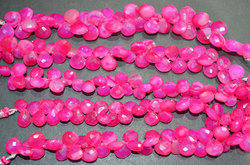 Hot Pink Chalcedony Heart Shape Faceted Briolettes