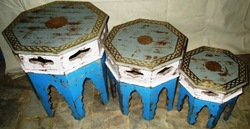 Antique Finish Wooden Stool Set Of 3
