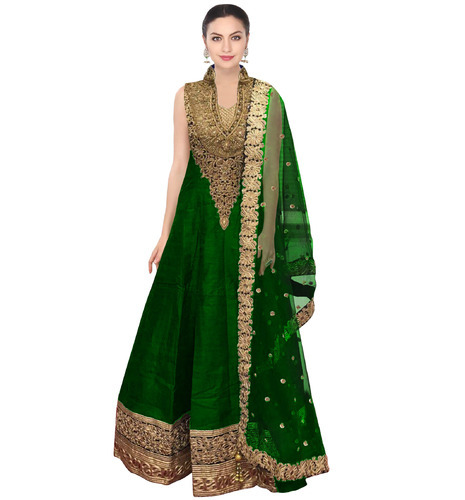 9f0721c9bc6558 Zari Casual Fabron Green Raw Silk Long Anarkali Suit For Women, Rs ...