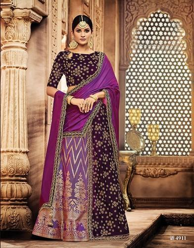 d7ebe1707b Semi-Stitched Purple Colour Bridal Lehenga Choli Exporters M-4911 ...