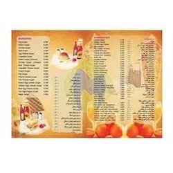 Book Type PVC Hotel Menu Card Designing Printing Service, Location: Chennai India, Size: A3