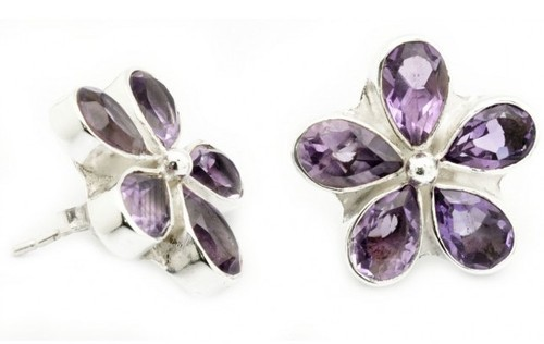 jewellery stud earring macaroon amethyst silver products and grande sterling