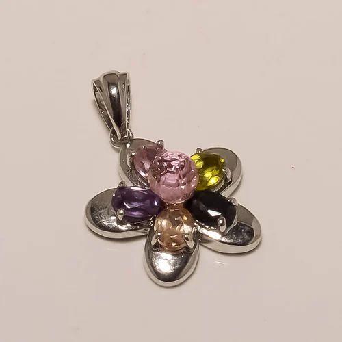 P0072- Sterling Silver Multi Stone Pendant 3.77