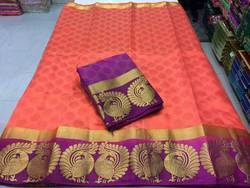 Double Peacock Tussar Silk Saree With Blouse