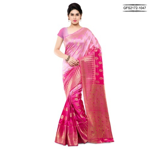 304ab41111ae3 Art Silk Pink Printed Half And Half Traditional Saree