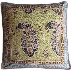Green Hand Block Printed Cotton Cushion Cover