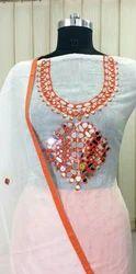 White N Orange Suit Material