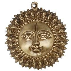 Decorative Sun Face Wall Hanging Sculpture In Brass Metal Antique, For Interior Decor
