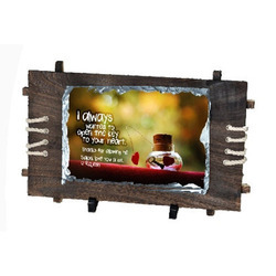 Custom Printable Stone Mounted on Wooden Base Frame, Size: 30 x 28 cm
