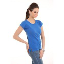 Ladies Blue Round Neck T-Shirts