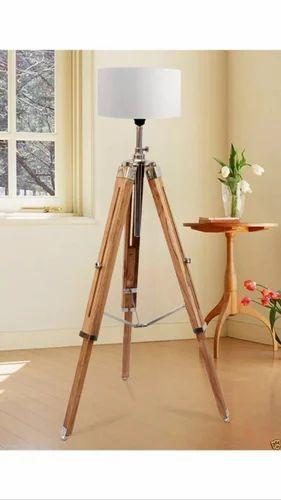 Nautical Wooden Lighting Floor Lamp Tripod Home Decor Shade Fixture Marine Lamp