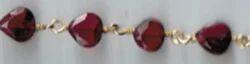 Garnet Pear Shape Beaded Chian