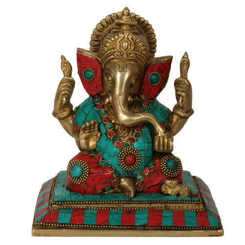 11374 Purpledip Ganesha Statue Under Temple Arch: Unique Idol for Table Top or Car Dashboard Home Temple