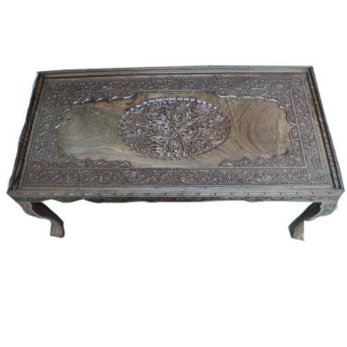 Wooden Table   Walnut Wood Carving Square Table Manufacturer From Srinagar