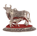 White Metal Cow Calf Small Statues