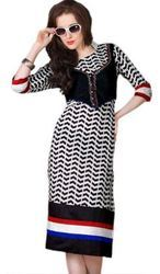 Black And White Color Printed Cotton Stitched Kurtis