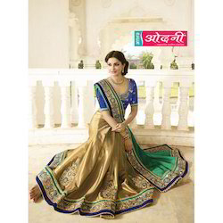 61a9fb19399ed Georgette Beige   Green Printed Saree