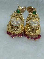 Peacock Design Color Stone Jhumka