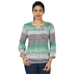 Cotton Green 3/4 Sleeve Printed Women Top, Size: S, M & L