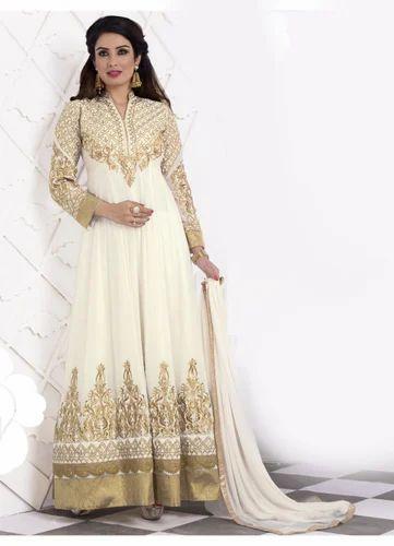 01295979b4 Georgette White Semi-Stitched Festival Anarkali Salwar Suit, Rs 1899 ...