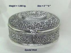 White Metal Fine Oval Box