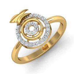 Round Shape 14K Gold Diamonds Ring