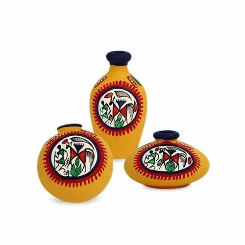 Warli Terracotta Pots - Painted Warli Terracotta Pots